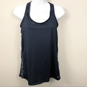 2 in 1 Black Workout Tank with Attached Sports Bra